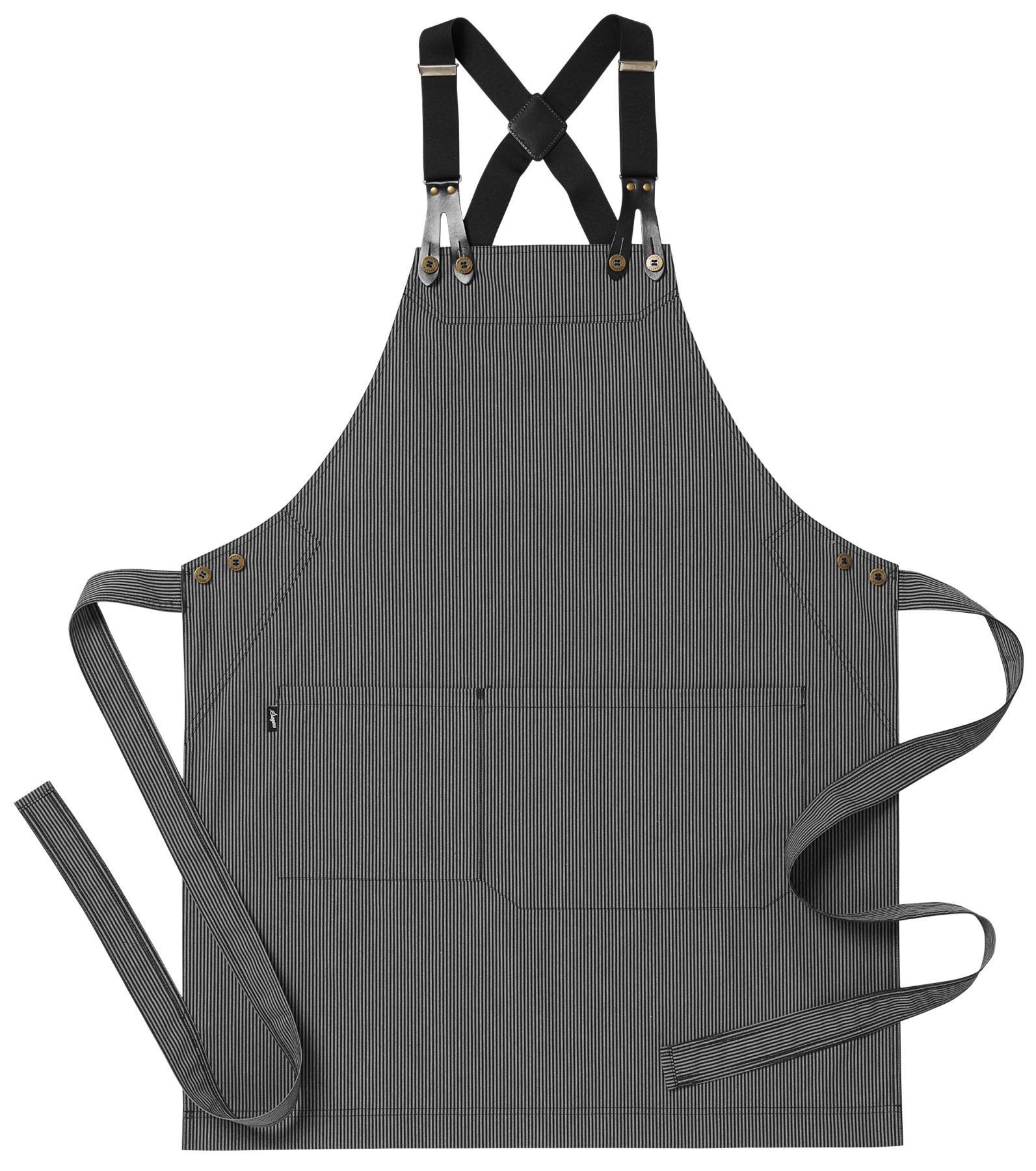 zwart grijs gestreept schort met bretel