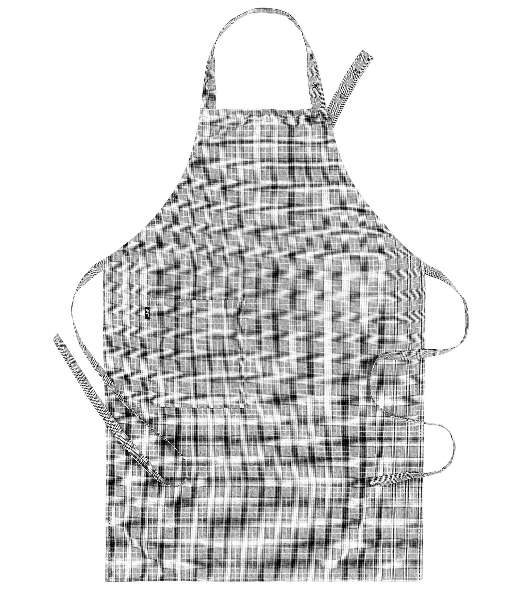 Schort met verstelbare nekband grijs geruit